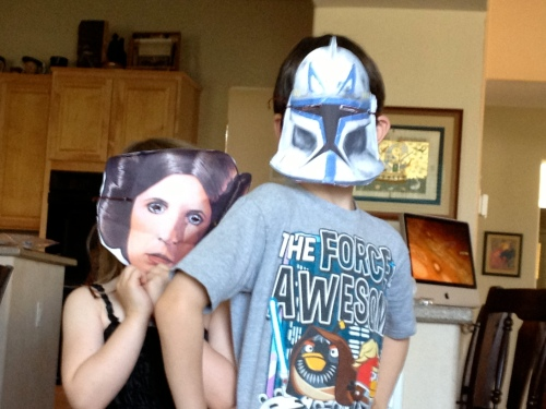 Cinco and The Princess in costume for Star Wars Day, Episode I.